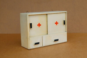 Antique Vintage Wooden Wood Medical Box First Aid Chest Cupboard Rustic 1960 s