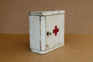 Antique Vintage Wooden Medical Box First Aid Chest Wall Shelf Cupboard 1940 s