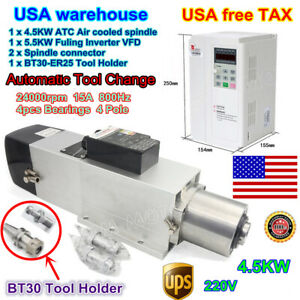 usa 4 5kw Bt30 Automatic Tool Changer Atc Air Cooled Spindle W 5 5kw Vfd 220v