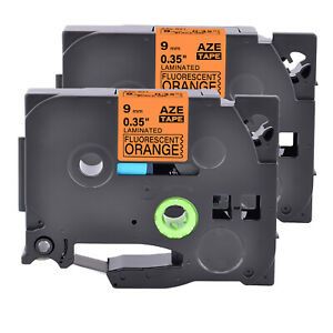2pk Compatible With Brother Tze Tz b21 Fluo Orange Label Tape 3 8 9mm