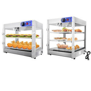 2 Tier 3 Tier Pizza food Warmer Stainless Steel Food Display Cabinet Heater Case