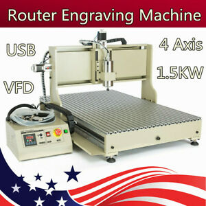 Usb 4 Axis Cnc 6090 Router Engraver Metalwork 3d Milling Drilling Machine 1 5kw