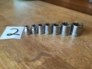 Snap On 7 Pc 8 Point Double Square Drive Socket Set 2 Gm