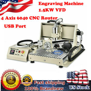 Usb 4 Axis Cnc 6040 Router Engraver Milling Machine Woodworking Engraving 1 5kw