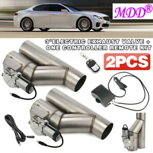 2pcs 3 Electric Exhaust Cutout Downpipe E Cut Out Valve One Controller Remote
