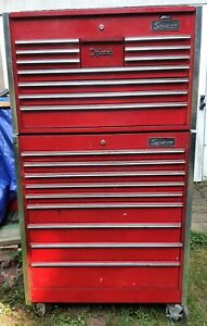 Snap On Top And Bottom Tool Box 20 Drawers Total With New Chrome Draw Lips