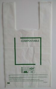 100 Certified Compostable Shopping Bags t shirt Bags Grocery Checkout Bags