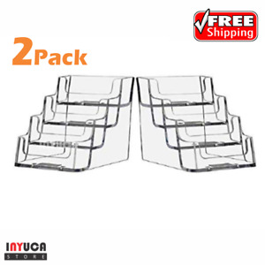 4 Tier Pocket Business Card Holder Countertop Clear Acrylic Office Desk 2 Pack