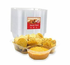 Nacho Trays 100 Pack Disposable 2 Compartment Food 22oz 8 x6 100 Pack