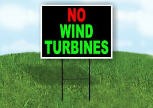 No Wind Turbines Red Green Yard Sign With Stand Lawn Sign