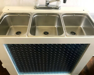 Portable Concession Sink 3 Compartment Sink Mobile Hot Water 120v Electric