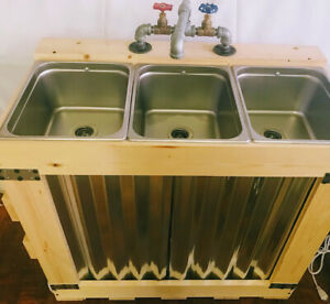 Portable Concession Sink 3 Compartment Sink Mobile Electric Rustic Galvanized