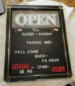 Open With Letter Board For Customizable Message Or Store Suction Hanging