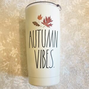 Rae Dunn AUTUMN VIBES Stainless Steel Insulated Tumbler Steel 17 oz W Lid 2021 $16.20