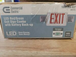 Commercial Electric Combo 14 w Led White Exit Sign emergency Light ni cad 9 6 v