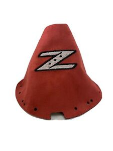 Fits 09 20 Nissan 370z Shift Boot Embroidered Z Red Suede White Logo