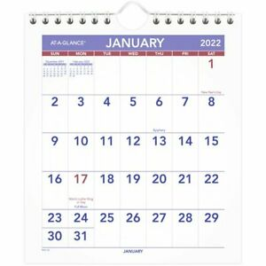 At a glance 2022 Mini Monthly Wall Calendar Small 6 12 X 7 12 Monthly Wall