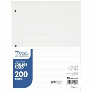 Mead Filler Paper College Ruled 11 X 8 12 200 Sheetspack Paper