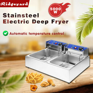 5000w Commercial Electric Deep Fryer Dual Tank Stainless Steel 2 Fry Basket