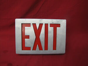 Vintage Stainless Metal Exit Light Sign Commercial One Sided Man Cave