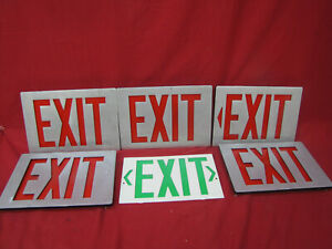 Vintage Stainless Metal Exit Light Sign Covers Commercial Man Cave