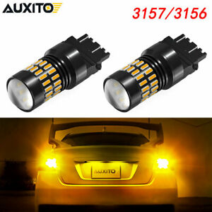 2x 3157 Yellow Amber Led Turn Signal Parking Light Bulb Super Bright Canbus 3156