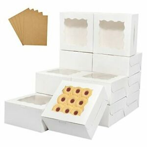 Bakery Boxes With Window 6 X 6 X 3 Inchespcs Cookie Boxes Pastry 60 White
