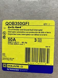 Square D Qob350gfi 3p 50a 208y 120v 3 Panel Spaces Circuit Breaker New In Box