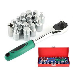 18pcs Ratchet Socket Wrench Kit 3 8in Chassis Oil Box Screw Set Repair Hand Tool