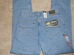 Mens Lee Relaxed Fit Straight Leg Denim Blue Jeans Size 34 x 32 34x32 NEW NWT $18.99