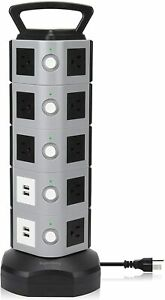 NEW SUPERDANNY Power Strip Tower SDD005 5 Surge Protector 18 Outlet Plugs 4 USB $32.39