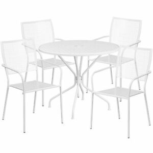 Flash Furniture 35 25 White Steel Patio Table Set With 4 Square Back Chairs