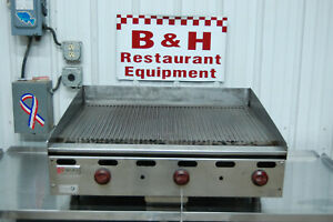 Wolf 36 Manual Agm36 1021 Natural Gas Flat Top Ribbed Grooved Griddle Grill 3