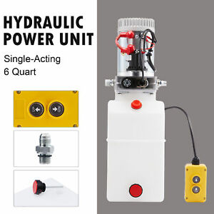 Single Acting 6qt 12v Hydraulic Pump For Truck Winches Plows Rvs Tow Booms Ac