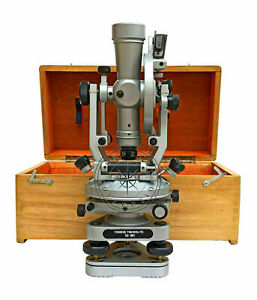 Transit Adelaide Surveying Instrument 20 Seconds Brass Theodolite With Wood Box