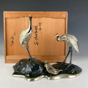 Nw2401 Japanese Antique Copperware Mt Horai Cranes And A Turtle By