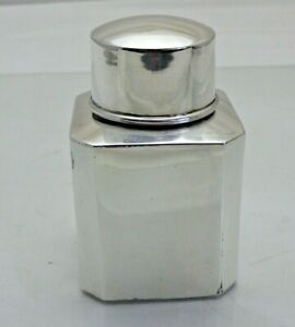 Antique Sterling Solid Silver Square Tea Caddy Canister B Ham 1897 1881 9 Vvn