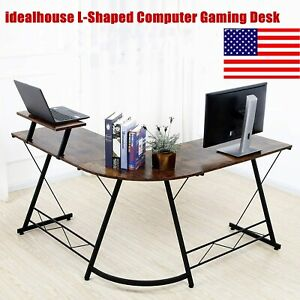 Idealhouse L shaped Computer Gaming Desk Writing Pc Workstation W Monitor Stand