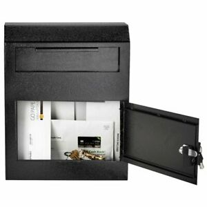 Security Drop Box Locking Deposit Mail Slot Safe Wall Money Cash Key After Hours