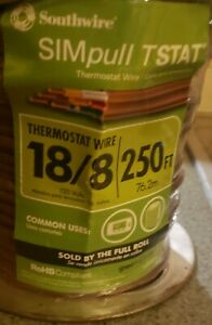 250 feet Southwire 18 8 Simpull Tstat Thermostat Wire 150 volts New
