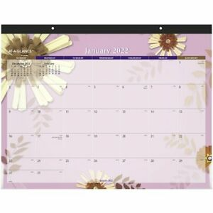 At a glance 2022 Paper Flowers Monthly Desk Pad Large 21 34 X 17 Desk Pad