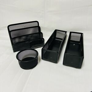 Office Desk Organizers Trays File Holder Paperclip Holder Black Wire Mesh