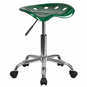 Flash Furniture Vibrant Green Tractor Seat And Chrome Stool Lf 214a green gg