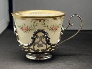 Gorham Sterling Silver Demitasse Cup Holder With Lenox Cup Green Stamp