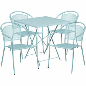 Flash Furniture 28 Sky Steel Folding Patio Table Set With 4 Round Back Chair
