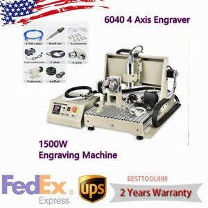 6040 4 Axis Engraver 1500w Cnc Router Desktop Drill Mill Engraving Machine Usb