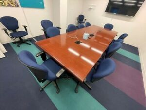 Rectangle Conference High Quality 15 Ft X 4 8 Ft With 10 Fabric Chairs