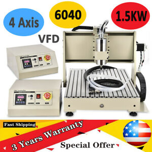 4 Axis 6040cnc Router Engraver Milling Machine 1500w Engraving Drilling Usb Port
