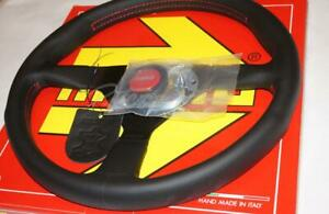 Momo Monte Carlo Black Leather Steering Wheel Red Stitch 350mm