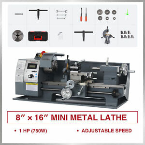Mini Metal Lathe W 750w Brushed Motor For Woodworking More 8 x16 2250rpm